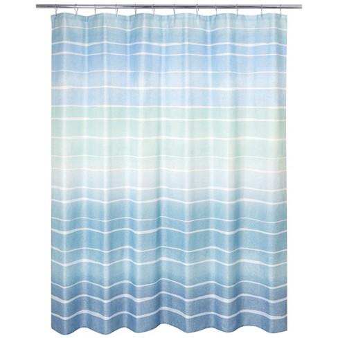 Metallic Ombre Stripe Shower Curtain Blue