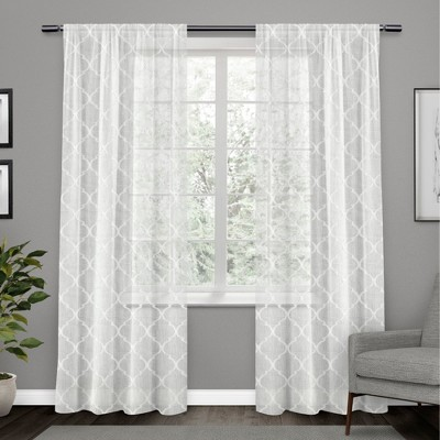 """Set of 2 96""""x54"""" Aberdeen Sheer Woven Trellis Embellished Hidden Tab Top Curtain Panel White - Exclusive Home"""
