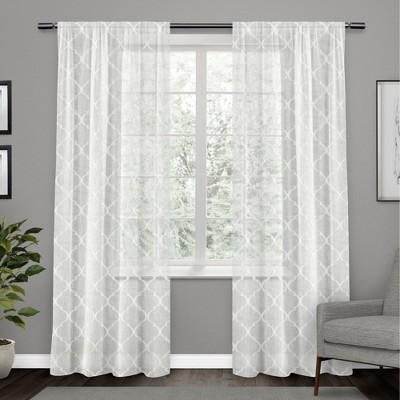 Aberdeen Sheer Woven Trellis Embellished Hidden Tab Top Curtain Panel Pair - Exclusive Home