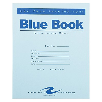 Roaring Spring  4 Sheet Wide Ruled Exam Blue Book