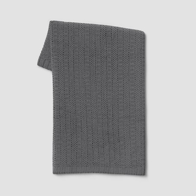 Striped Chenille Knit Throw Blanket Gray - Threshold™