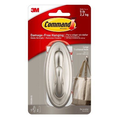 Command Large Sized Traditional Hook (1 Hook 2 Strips)Brushed Nickel