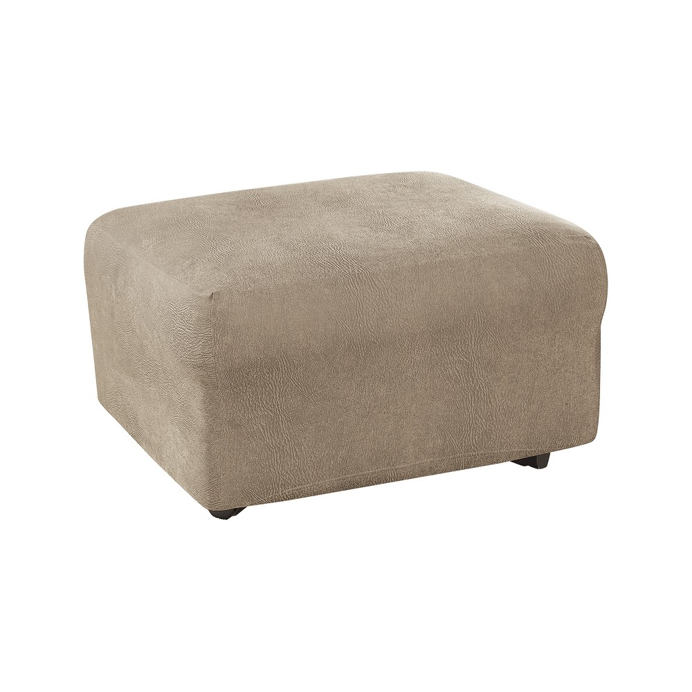 Ultimate Stretch Leather Ottoman Slipcover Rustic Brown - Sure Fit