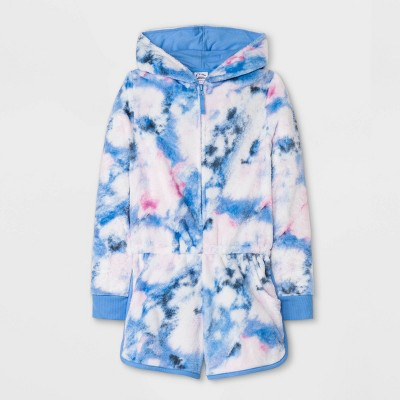 Girls' Tie-Dye Pajama Romper - art class™ Blue
