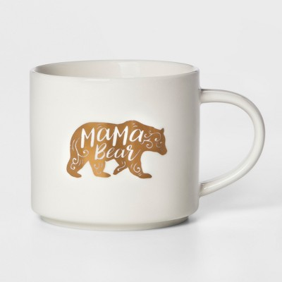16oz Stoneware Mama Bear Mug White - Threshold™