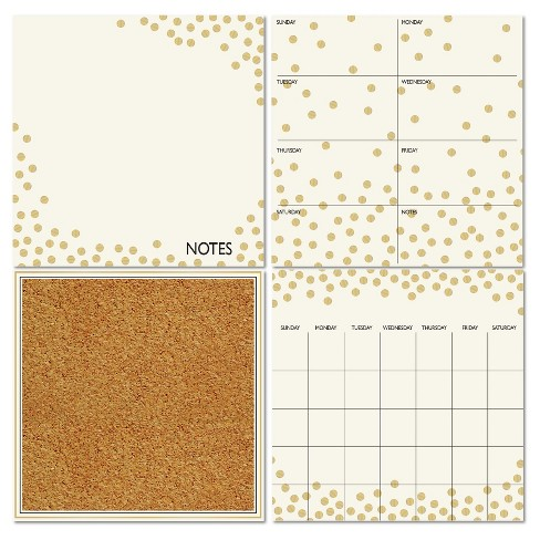 Wall Pops! ® Cork and White Board Calendar Set 4ct - Gold Dots - image 1 of 2
