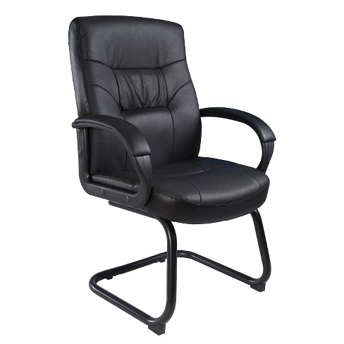 Executive Mid Back Leatherplus Guest Chair with Cantilever Sled Base Black - Boss Office Products - image 1 of 4