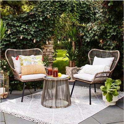 latigo 3pc rattan patio chat set brown opalhouse target rh target com target outdoor furniture australia target outdoor furniture clearance