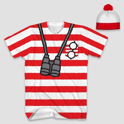 Men's Where's Waldo? Short Sleeve Halloween Graphic T-Shirt and Hat Set - Red