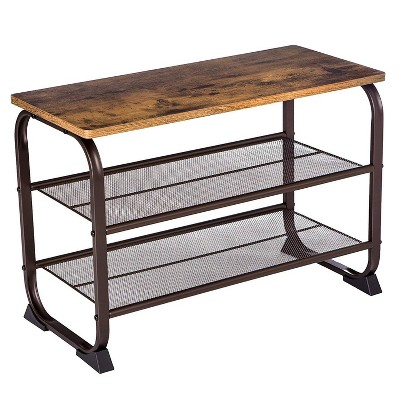 3 Tier Wood Top Shoe Rack with Metal Base Black/Brown - Benzara
