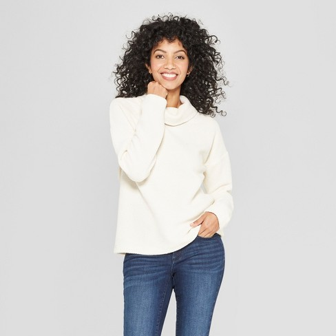 Women's Long Sleeve Cowl Neck Knit Top - A New Day™ Cream - image 1 of 3
