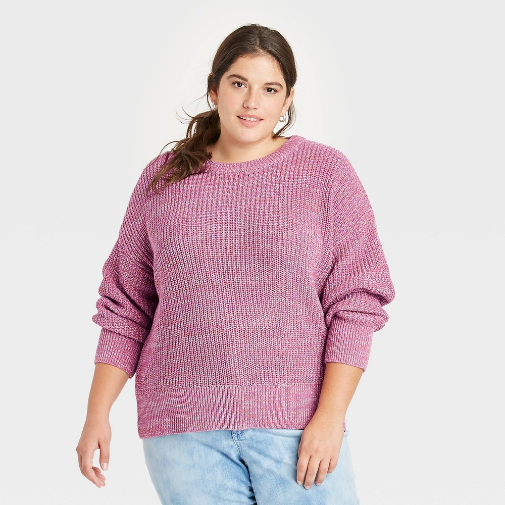 Women 39 S Plus Size Crewneck Textured Pullover Sweater Universal Thread 8482 Purple 3x