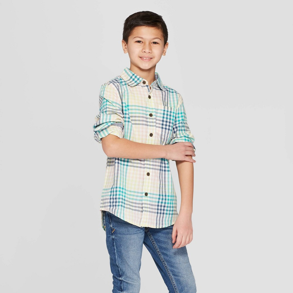 Boys' Plaid Long Sleeve Button-Down Shirt - Cat & Jack Pink L