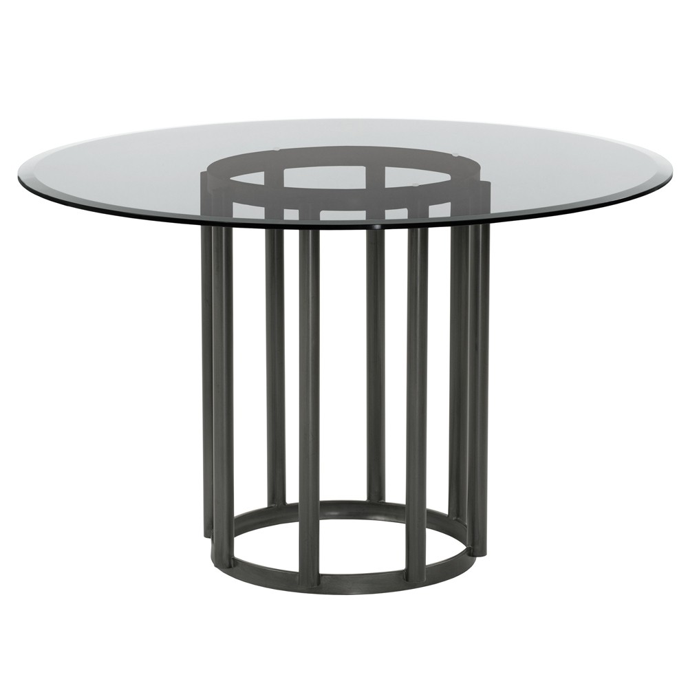 Armen Living Denis Contemporary Round Metal Dining Table Mineral Finish