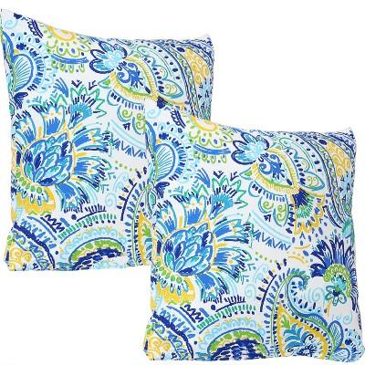 """17"""" Square Decorative Outdoor Pillow - Set of 2 - Aqua Paisley - Sunnydaze Decor"""