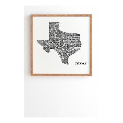 Restudio Designs Texas Map Framed Wall Art 12  x 12  - Deny Designs