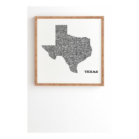Restudio Designs Texas Map Framed Wall Art 20 X 20 Deny Designs Target