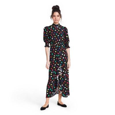 Polka Dot Mock Neck Cascade Ruffle Dress - RIXO for Target Black