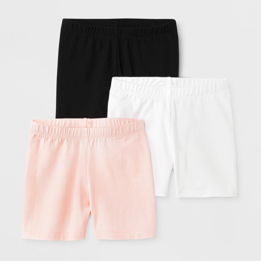 Girls' 3pk Tumble Shorts - Cat & Jack Black/White/Pink, Size: Small