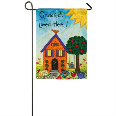 Evergreen Flag  Grandkids Loved Here  Garden Suede Flag