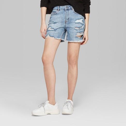 efdf9efbc7 Women's High-Rise Destructed Relaxed Longer Length Jean Shorts - Wild Fable™  Light Blue Wash : Target