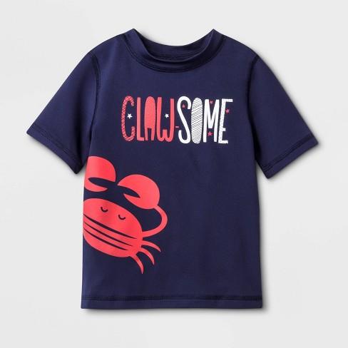 Baby Boys' Short Sleeve Clawesome Rash Guard - Cat & Jack™ Navy - image 1 of 1