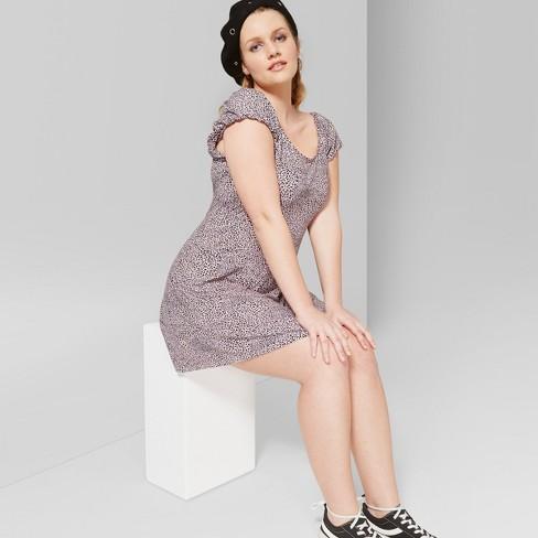 Womens Plus Size Womens Short Sleeve Animal Print Knit Mini Dress