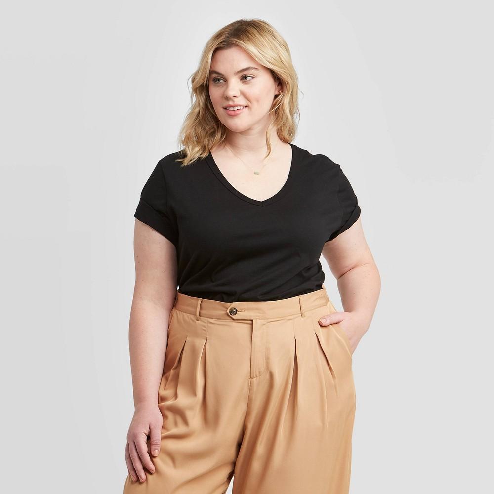 Women 39 S Plus Size Short Sleeve V Neck Slim Fit T Shirt Ava 38 Viv 8482 Black 2x