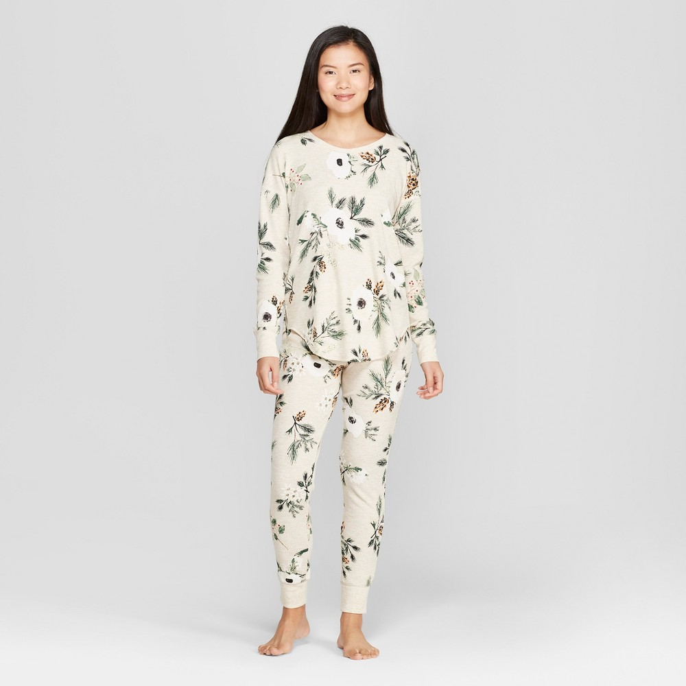 Women's Floral Print Thermal Pajama Set Cream S, Beige