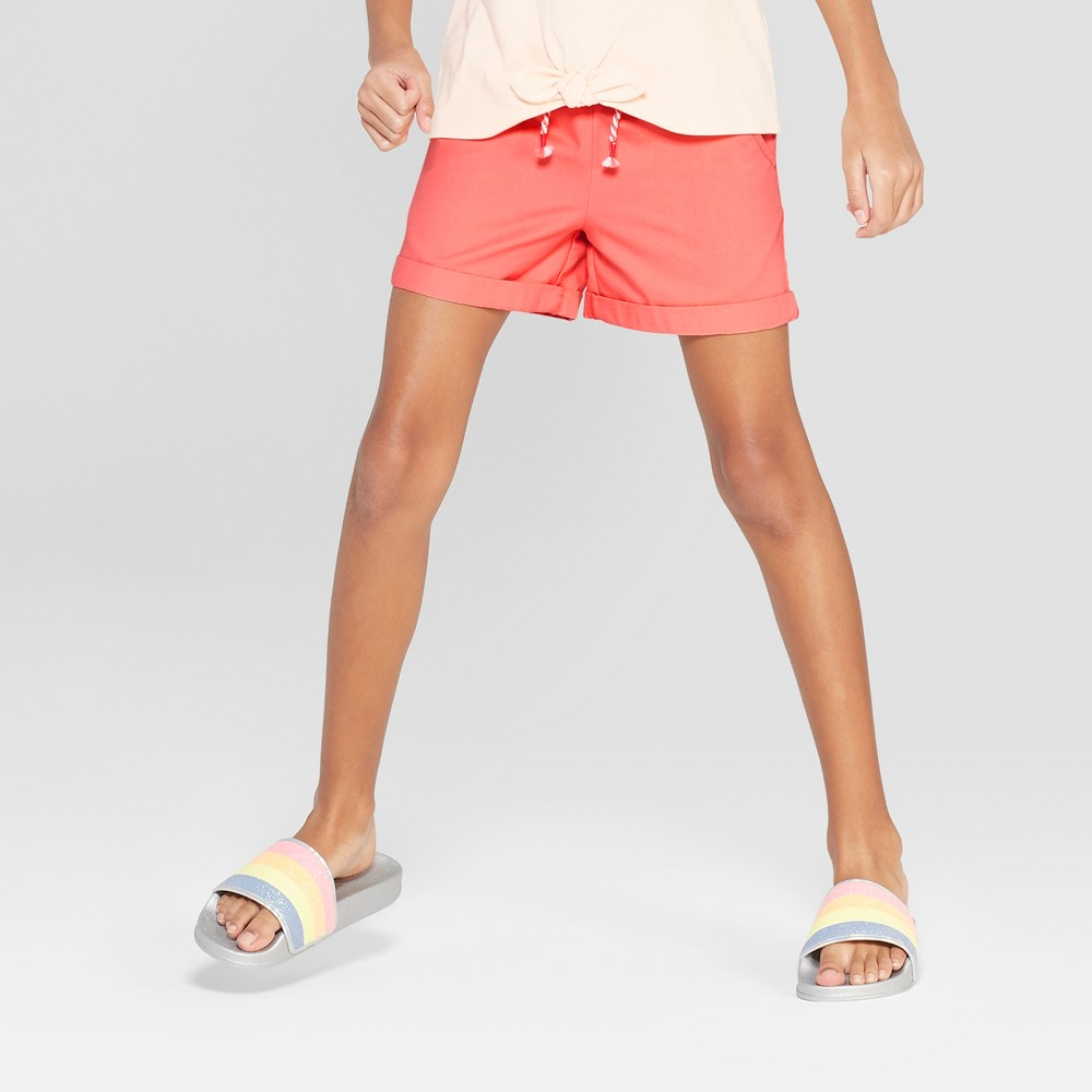 Girls' Woven Shorts with Rolled Hem - Cat & Jack Peach L, Pink