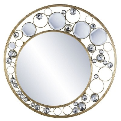 OK Lighting Glimmer Of Gold Wall Plaque Mirror