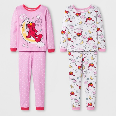 c1e21a6fc017 Toddler Girls  Sesame Street 4pc Pajama Set - Pink   Target