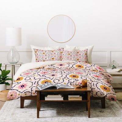 Floral Holli Zollinger Suzani Duvet Cover Set Pink - Deny Designs
