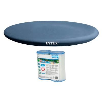 Intex 13 Foot Easy Set Rope Tie PVC Pool Cover w/ Type A/C Filter Cartridges