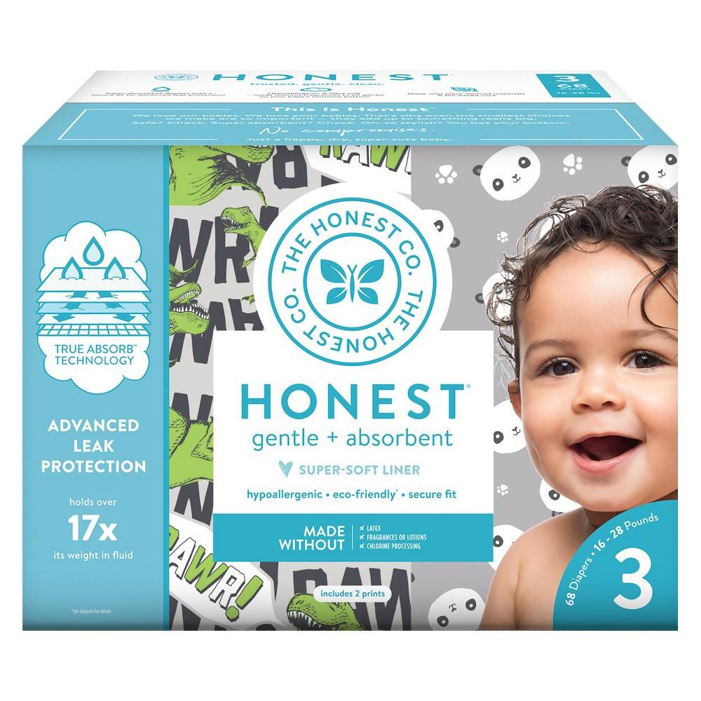 Honest Company Disposable Diapers Club Box T-Rex & Pandas - Size 3 (68ct), T-Rex/Pandas