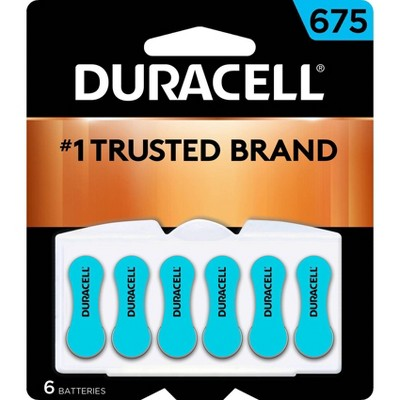 Duracell Size 675 Hearing Aid Batteries - 6 Pack - Easy-Fit Tab