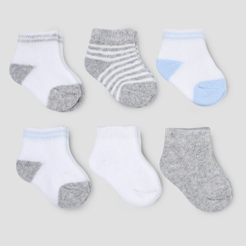 Baby Boys' 6pk Basic Ankle Terry Socks - Just One You® made by carter's White/Gray 0-3M - image 1 of 1