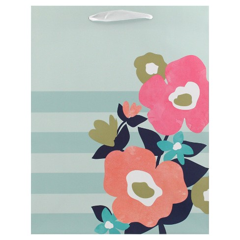 Blue and Pink Floral Gift Bag - Spritz™ - image 1 of 2