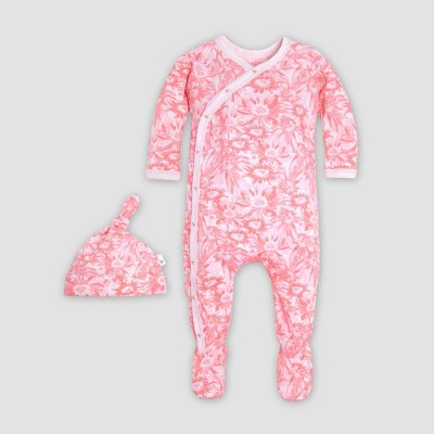 Burt's Bees Baby® Baby Girls' Organic Cotton Daisies on Post Floral Coverall with a Hat Pajama Jumpsuit - Pink 0-3M