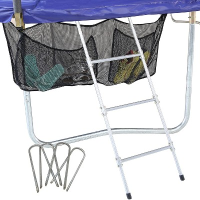 Skywalker Trampolines Non Permanent 3 Rung Ladder and Attachable Shoe Holder Storage Bag Trampoline Accessory Kit with Wind Stakes