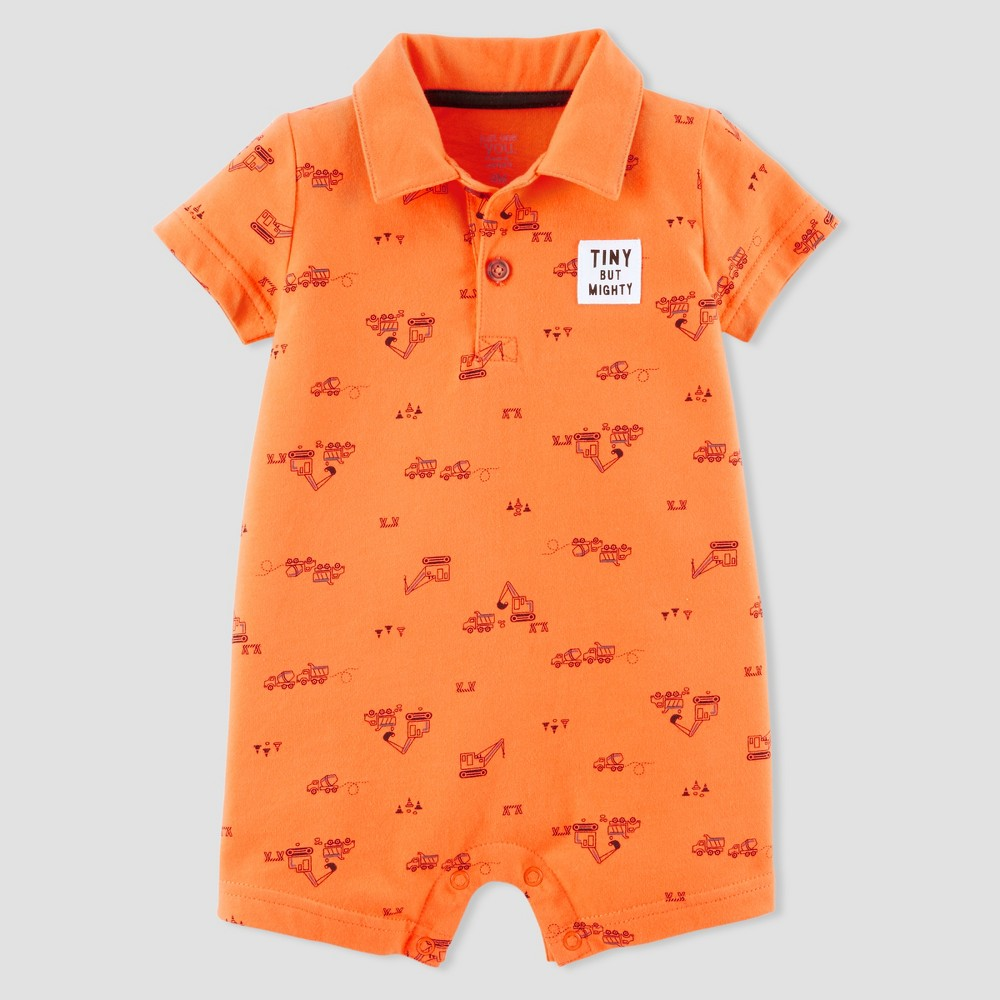 Baby Boys' Construction Polo Romper - Just One You made by carter's Orange 6M