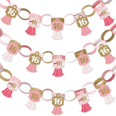 Big Dot of Happiness Sweet 16 - 90 Chain Links and 30 Paper Tassels Decoration Kit - 16th Birthday Party Paper Chains Garland - 21 feet