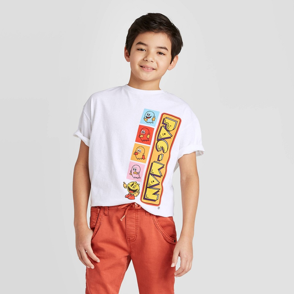 Image of petiteBoys' Pac-Man Short Sleeve T-Shirt - White XL, Boy's
