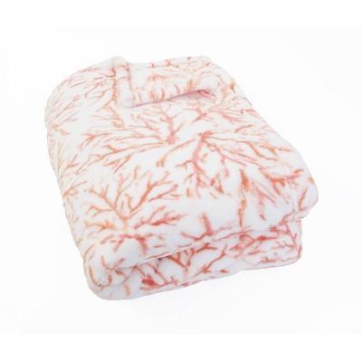 "50""x70"" Tonga Coral Printed Loft Fleece Decorative Throw Coral - Décor Therapy"