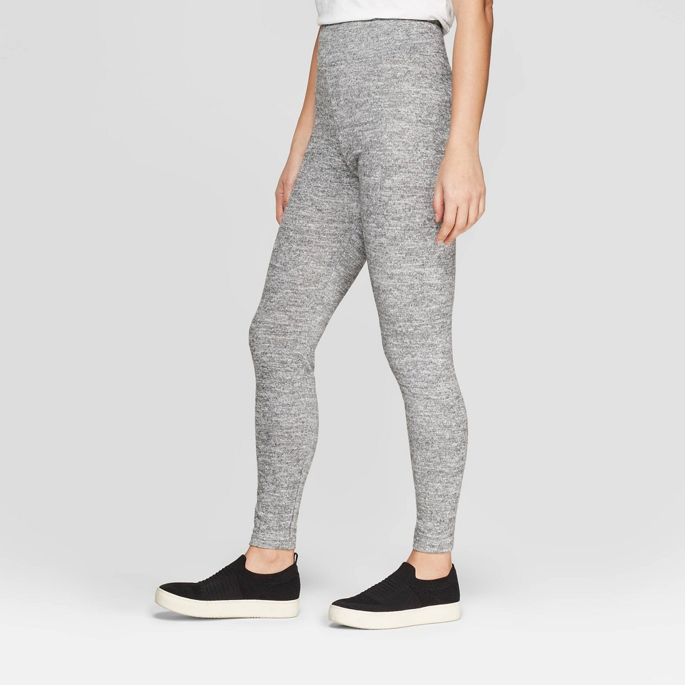 Women's Cozy Wide Waistband Leggings - A New Day Heather Gray M