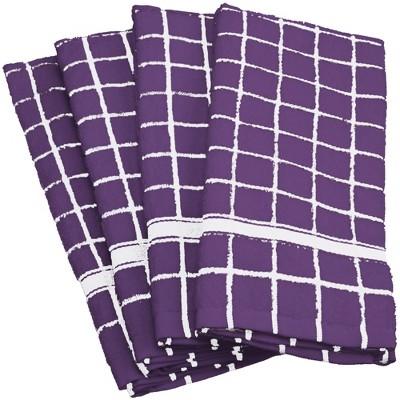 Set of 4 Nautical Windowpane Dishtowel Dark Plum - Design Imports