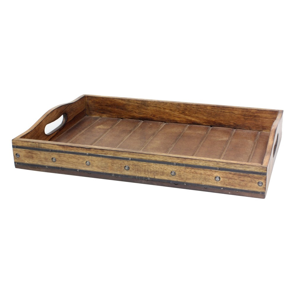 "Image of ""17.7"""" x 12.1"""" Rectangular Wooden Tray with Metal Rivets Brown - Stonebriar"""