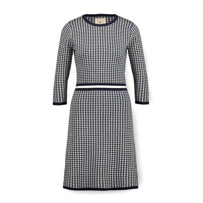 Hope & Henry Womens' 3/4 Sleeve Houndstooth Sweater Dress