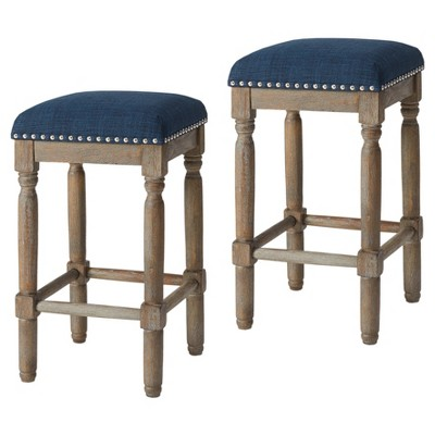 "Set of 2 26"" Wells Counter Stool Navy"