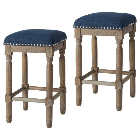 Magnificent Wells 26 Counter Stool Set Of 2 Navy Evergreenethics Interior Chair Design Evergreenethicsorg